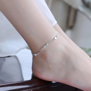 NEW 925 Sterling Silver Simple Heart Anklet